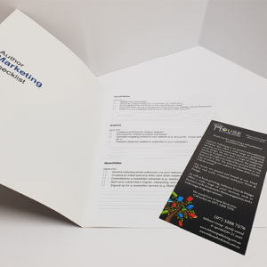 A white, InHouse Publishing flyer is open to a checklist page.